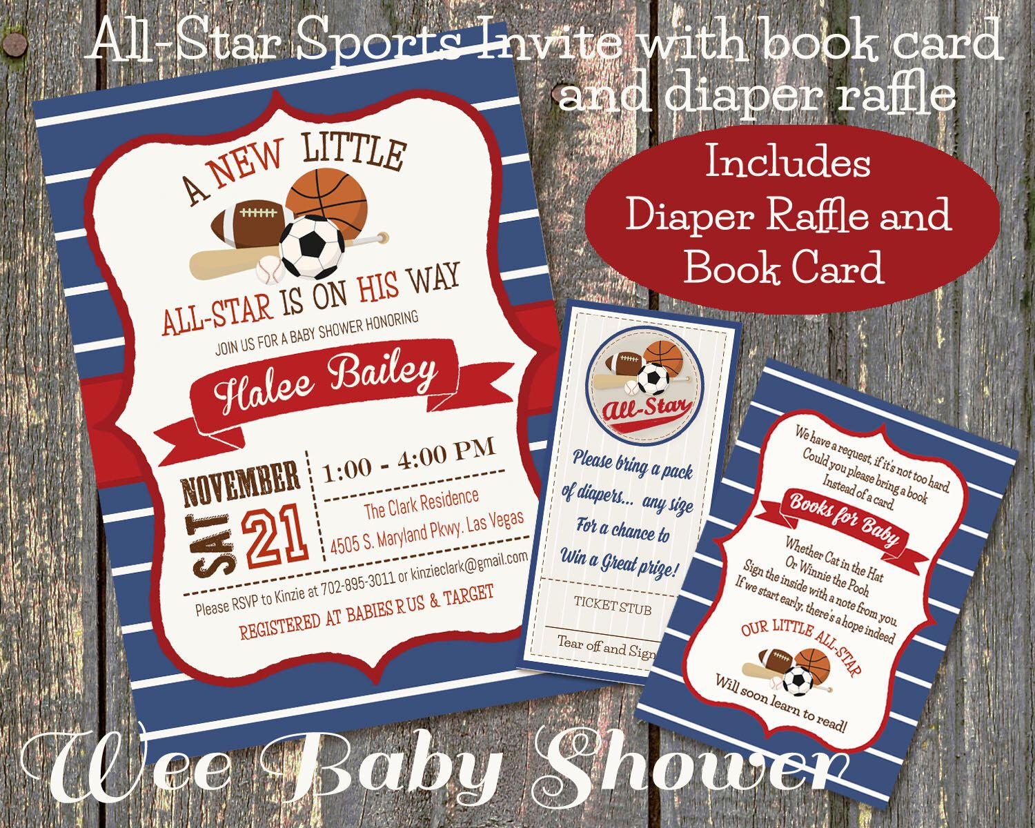 Sports Baby Shower Invitation, Diaper Raffle and Bookcard Combo by ...