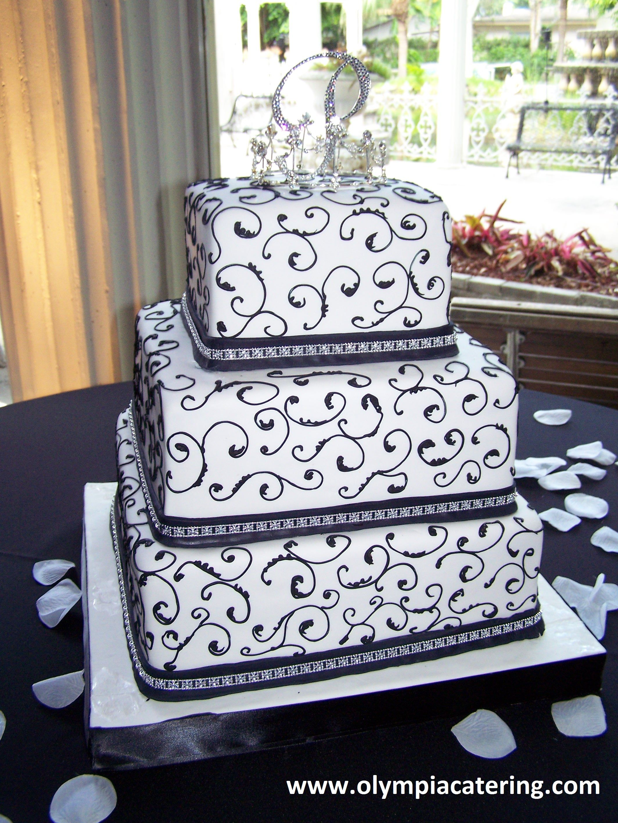 square black and white wedding cakes pictures%0A Square Wedding Cake  Fondant  Navy Piping  Navy Ribbon  Three Tiers
