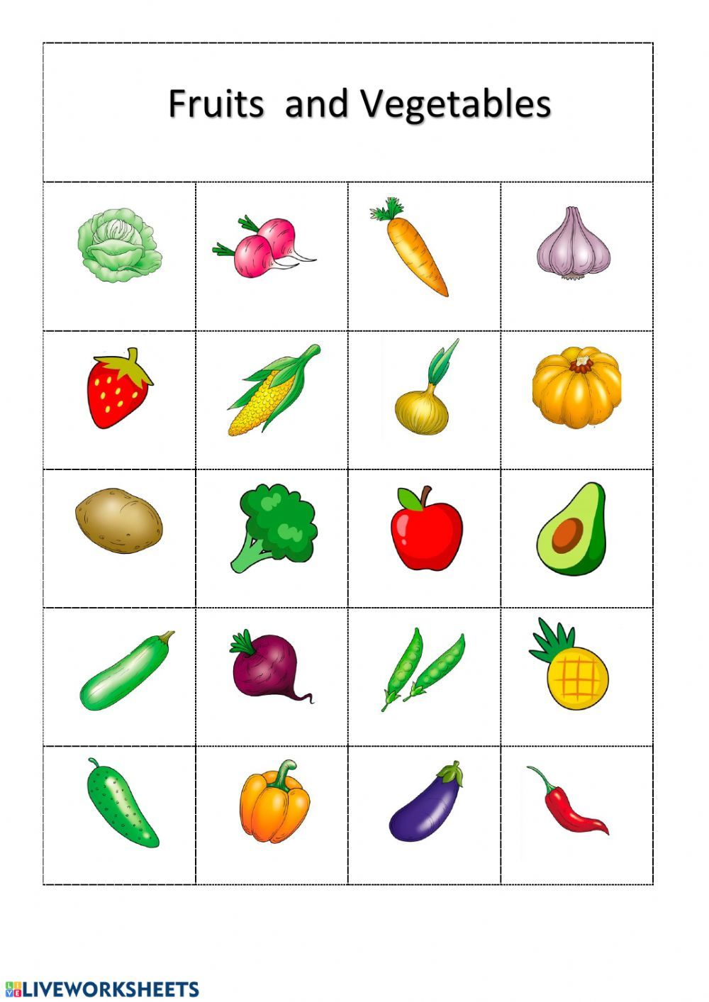 Fruits and Vegetables Interactive worksheet in 2019