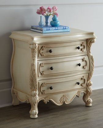 Funky Nightstands nicolette cream king bed   cream bedroom furniture, cream