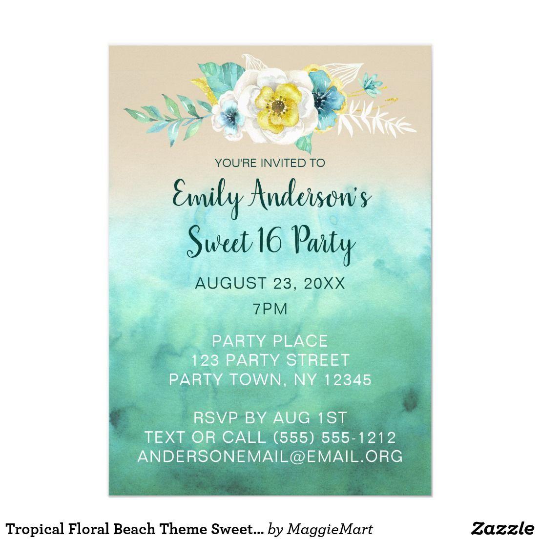 Tropical Floral Beach Theme Sweet 16 Birthday Invitation Zazzle