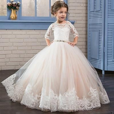 Girl Communion Party Prom Princess Pageant Bridesmaid Wedding Flower Tutu Dress