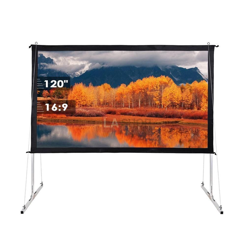 100 120 135 Opt 16 9 Portable Projector Screen Free Stand W Legs Portableprojectorscreen Projectors Home Theater Projectors Home Theater Projector Screen