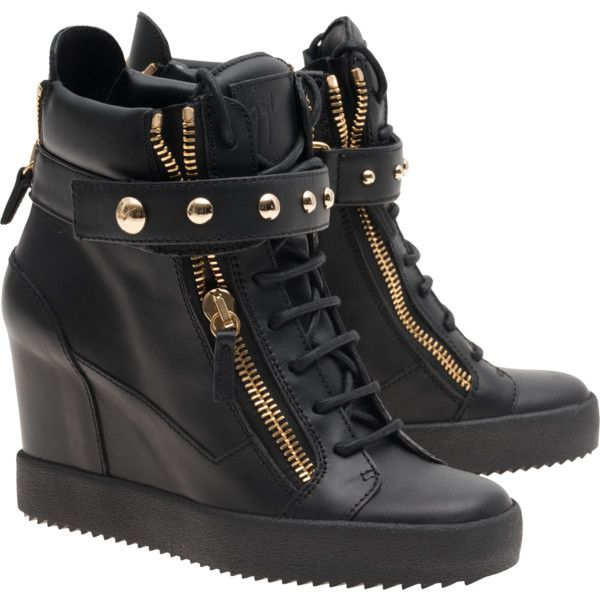 ba3055c0c64c7 GIUSEPPE ZANOTTI LAMAY LORENZ 75 DONNA BIREL VAGUE NERO // Leather...  (€599) ❤ liked on Polyvore featuring shoes, sneakers, high-top sneakers,  black velcro ...