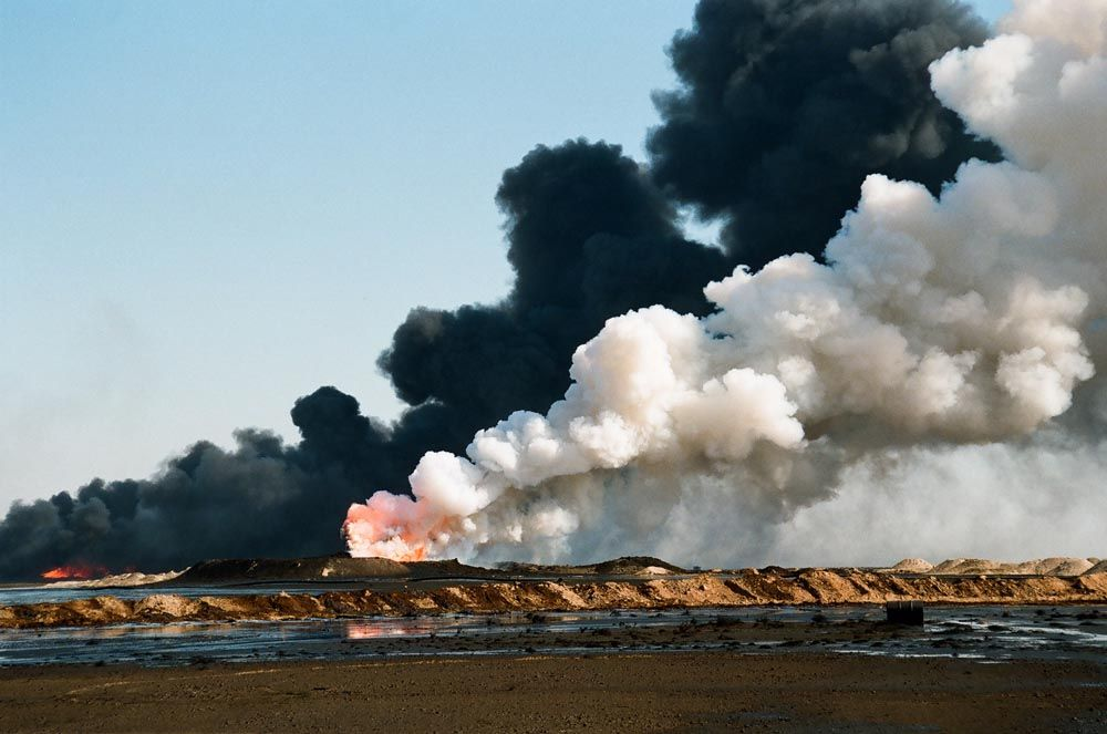 Oil Well Fire Oil Lake And Smoke Oil Well Smoke Aerial Photography