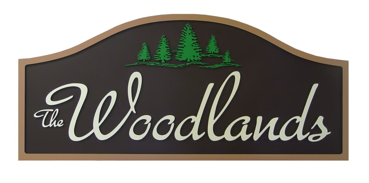 exterior signs for woodlands neighborhood entrance strata sign