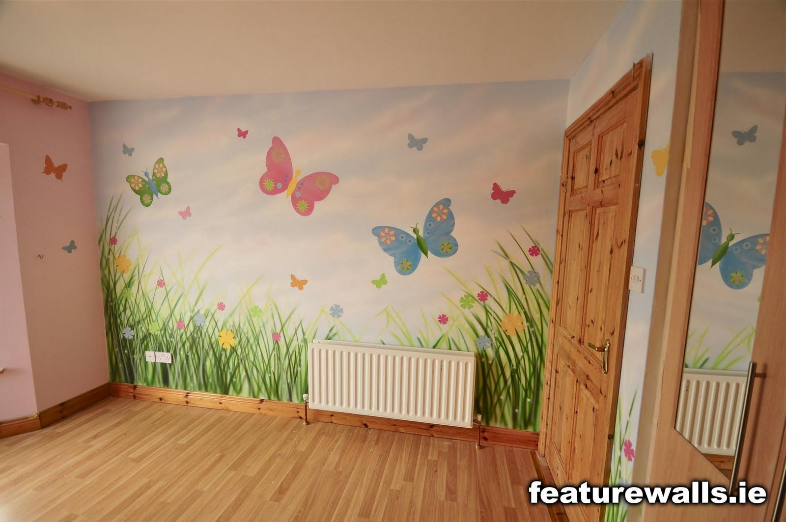 Mural kids rooms girls butterfly room mural by for Mural kids room