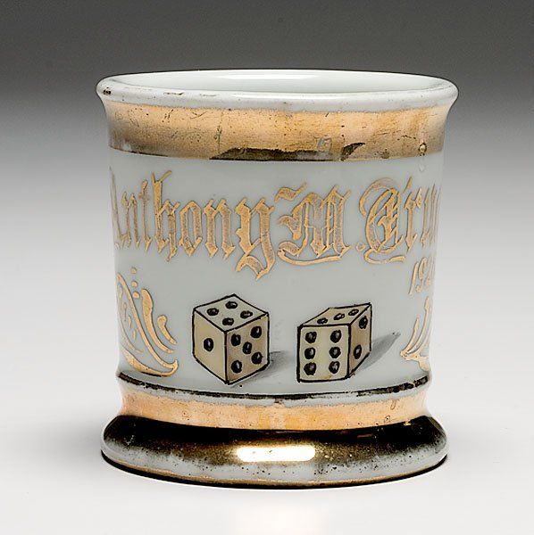 Unique and Rare Gambler's Occupational Shaving Mug,  porcelain, perhaps a professional gambler or a casino employee, mug with dice and dated 1926, maker is Felda China, gilt name Anthony Truatt.