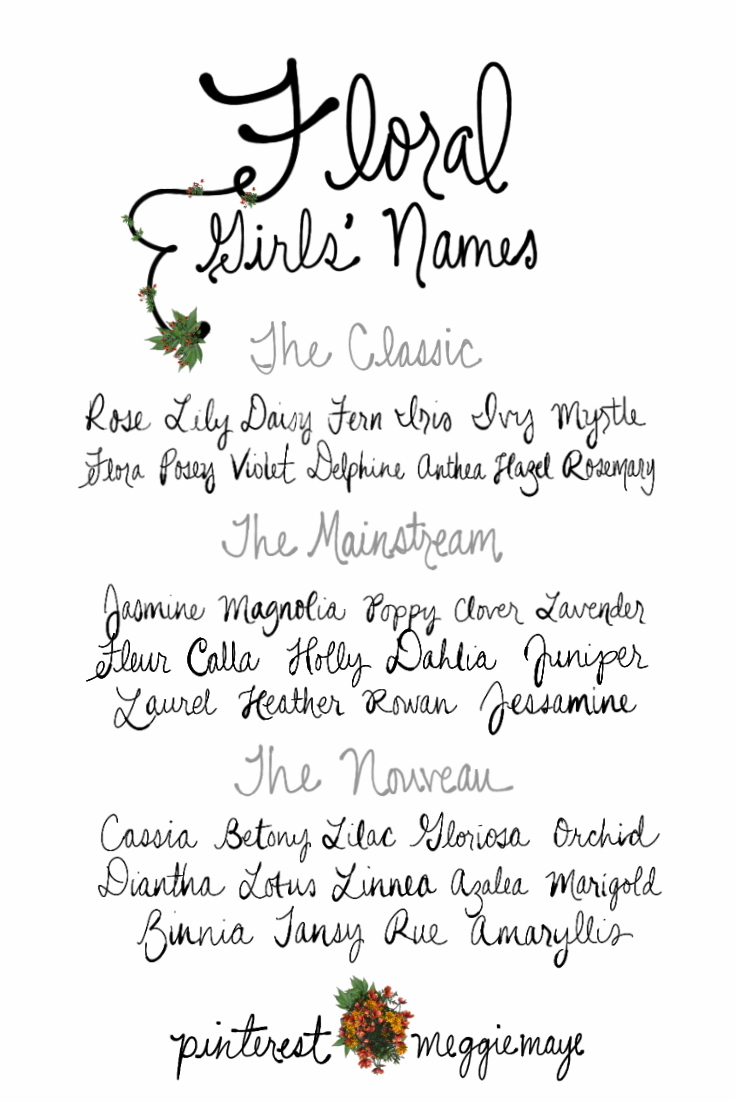 Flower Names For Girls. Classics Rose, Lily, Daisy, Fern