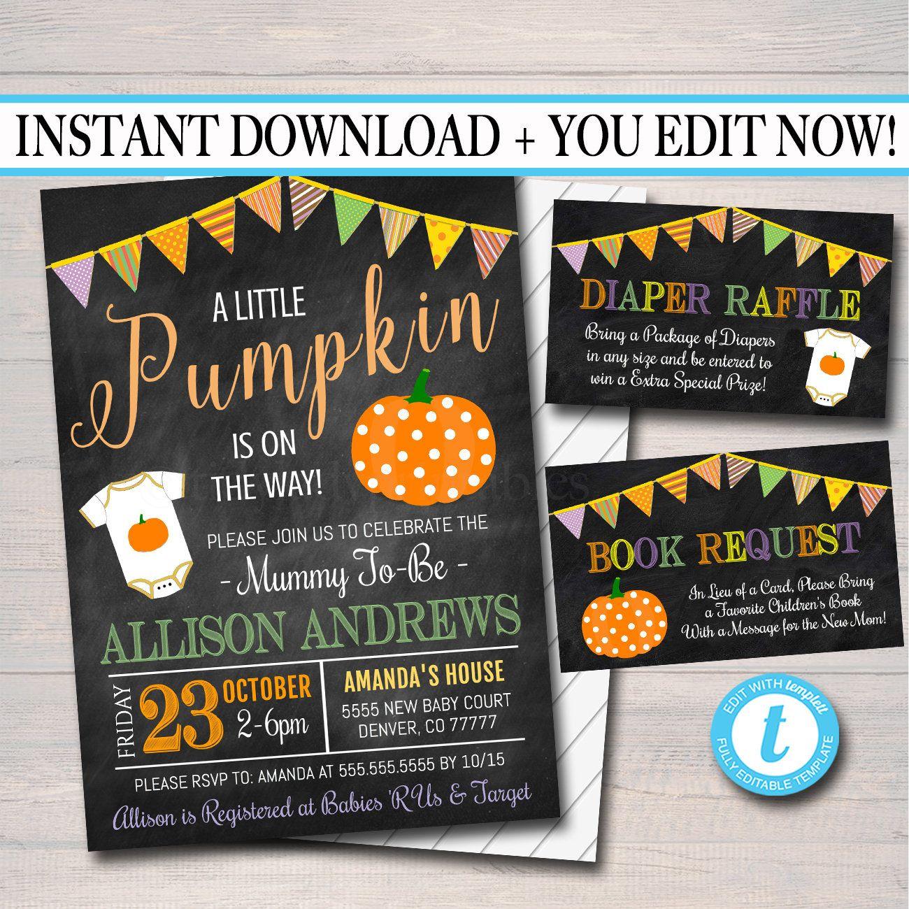 Editable halloween baby shower party invitation halloween