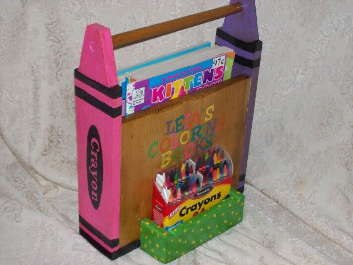 Painted Wooden Coloring Book Crayons Holder Pallet Crafts Crafts Crayon Holder