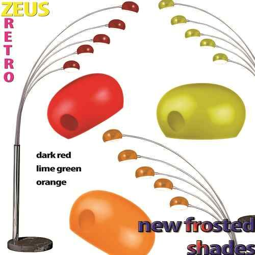 Zeus 5 Arm Arc Floor Lamp Lime Green Dark Red Orange or ...