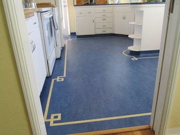 Deep Blue Marmoleum (Real 3030) with a cream greek key ribbon outline - Kitchen in Sacramento CA