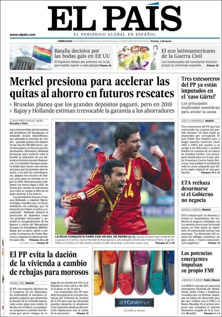 Los Titulares y Portadas de Noticias Destacadas Españolas del 27 de Marzo de 2013 del Diario El País ¿Que le parecio esta Portada de este Diario Español?