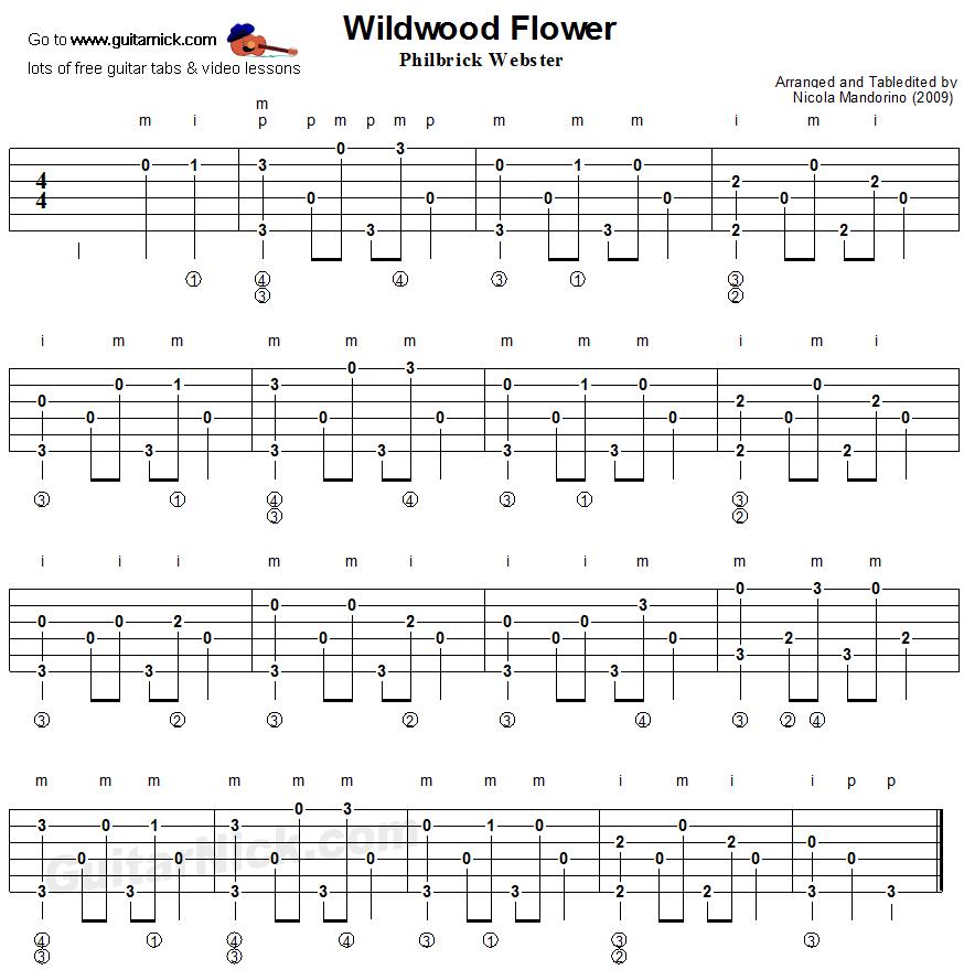 Wildwood Flower - The Carter Family, fingerpicking guitar tablature ...