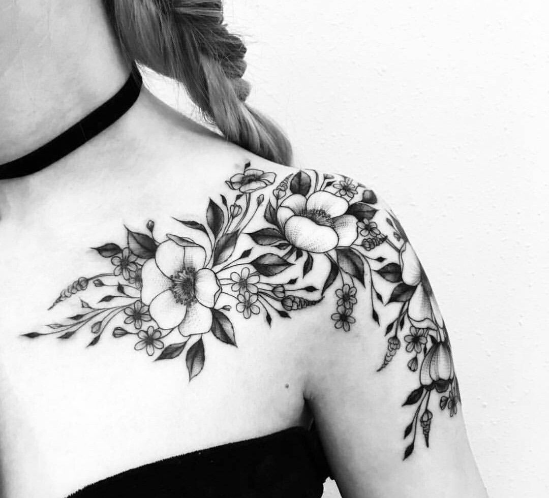 30+ Awesome Black flower tattoo shoulder ideas in 2021