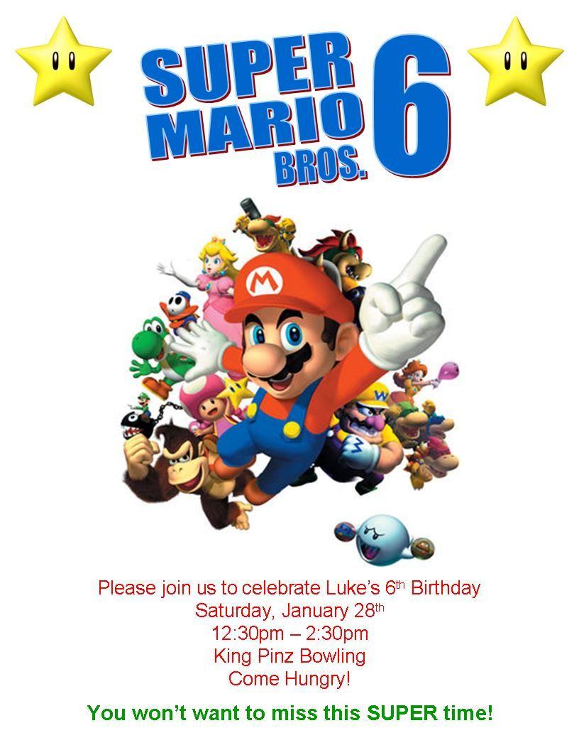 Super Mario invitation for my son's birthday made using