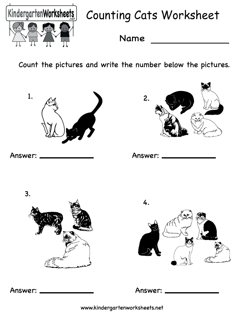 Kindergarten Counting Cats Worksheet Printable | Worksheets (Legacy ...