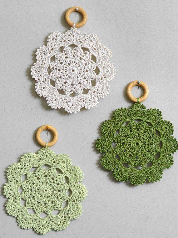 Crochet wall decor Set of three crochet doily wall hanging Country ...
