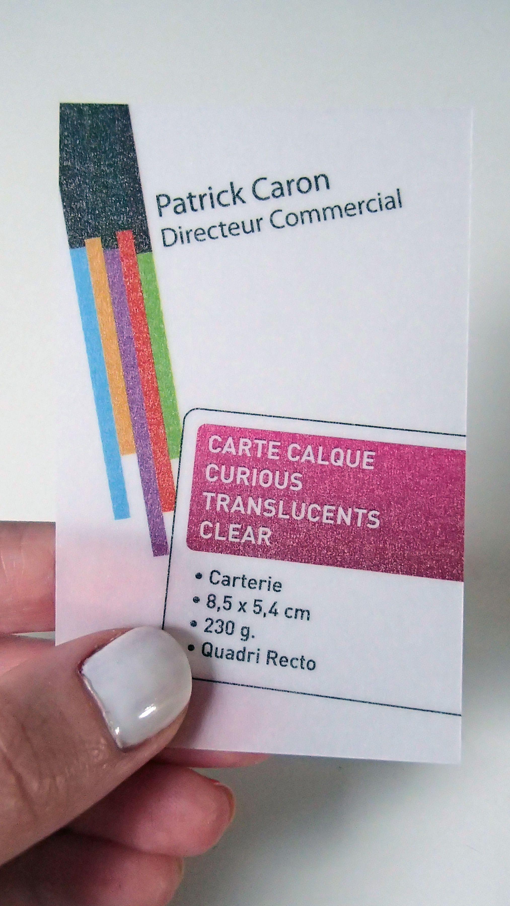 Impression De Carte Visite Originale Sur Papier Calque