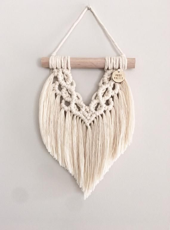 Photo of Mini Macrame Wall Hanging, Mini Macrame Wall Art, Wall Decor, Boho Home Decor, 'Avery'