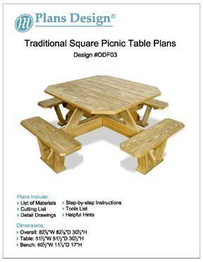Surprising Traditional Square Picnic Table Benches Woodworking Plans Pabps2019 Chair Design Images Pabps2019Com