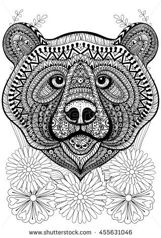Zentangle stylized bear face on flowers. Hand drawn ethnic animal ...