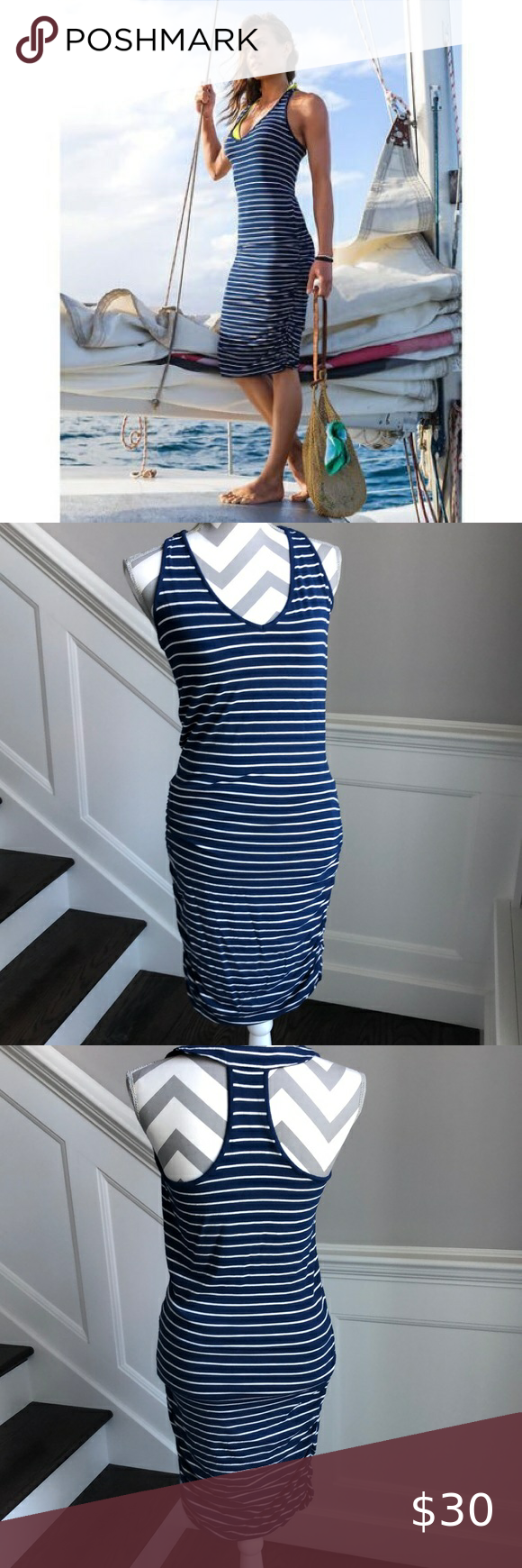Athleta Blue Striped Racerback Tee Dress Small Tee Dress Dresses Clothes Design [ 1740 x 580 Pixel ]