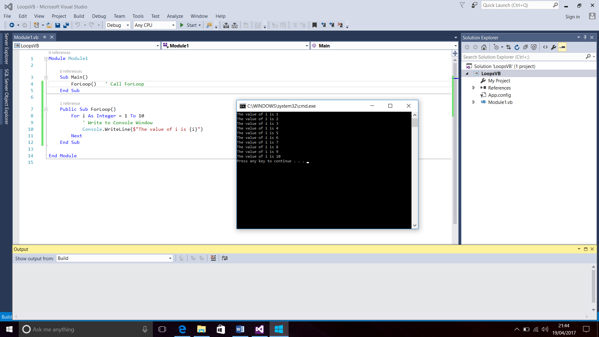 Screenshot of Visual Basic Code and the Console Window for the Loops