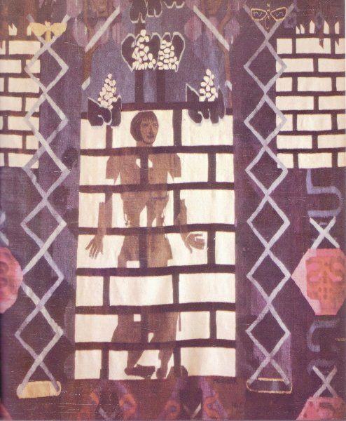 100år med norsk billedvev / absolutetapestry.com  Hannah Ryggen, Grå figur, 1961