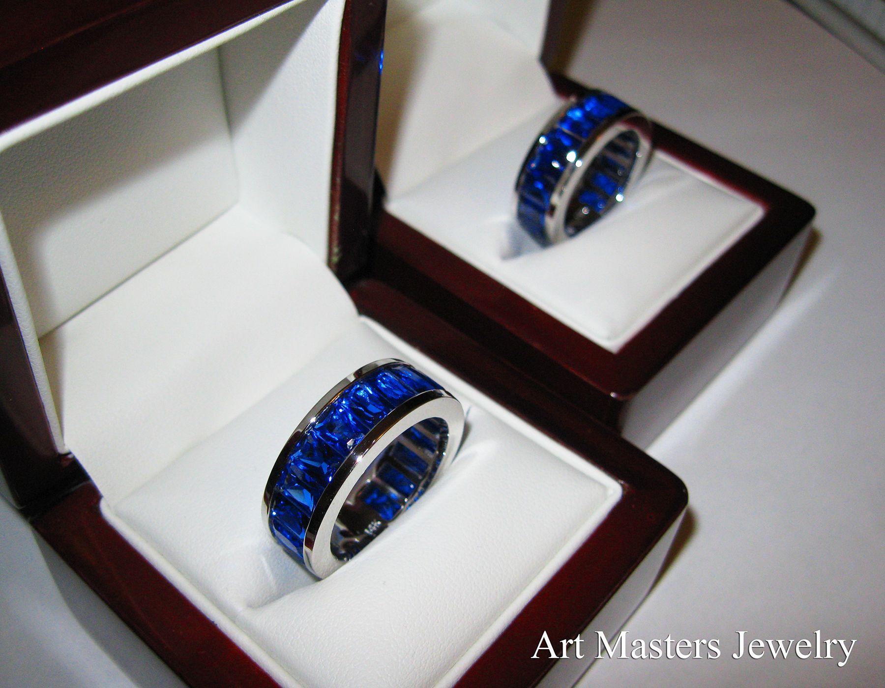 Art Masters Modern 14K White Gold Blue Sapphire Channel Cluster
