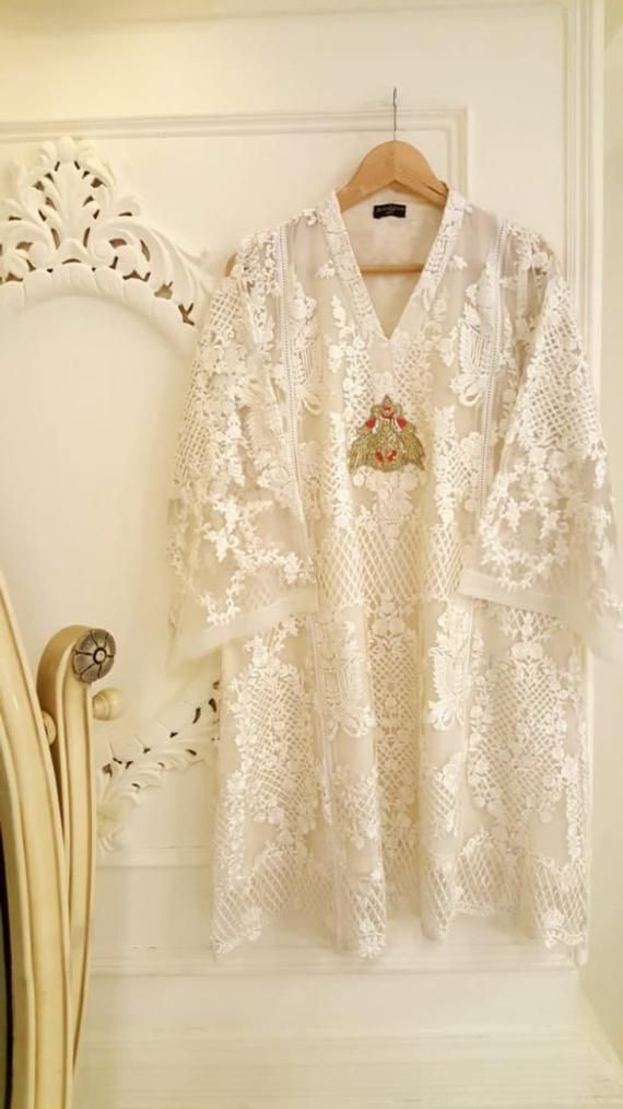 24d02d65cb Pure Chiffon White Embroidered Shirt, Agha Noor Kurti, Pakistani Dress,  Indian Dress