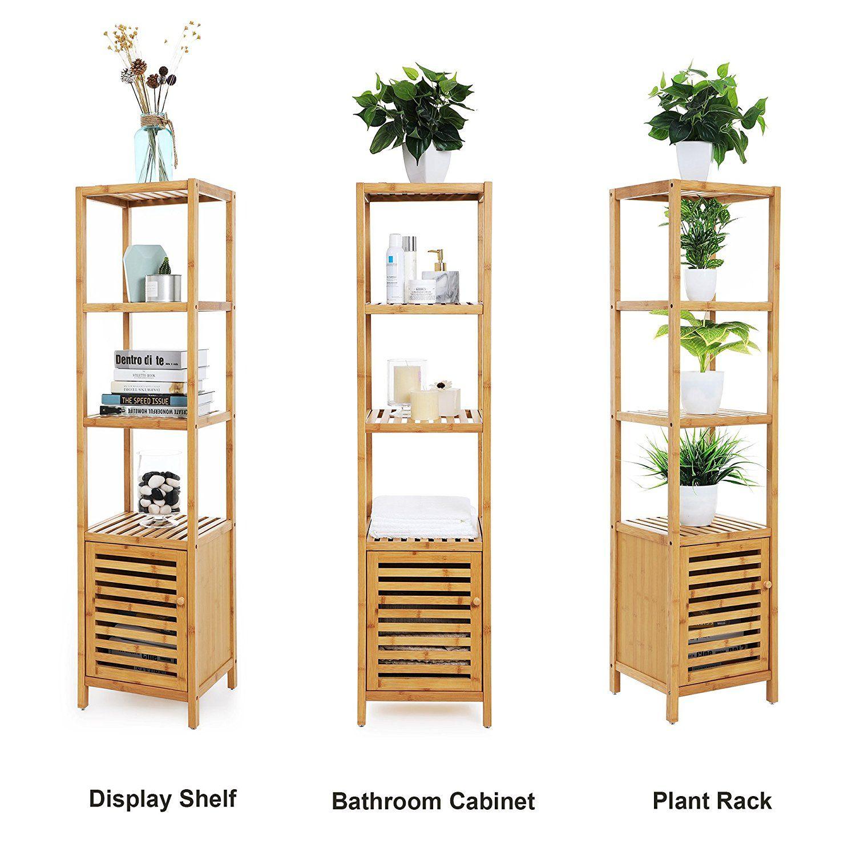 speed racks for kitchen honest cat food amazon com songmics narrow shelving unit bathroom shelf 5 tier multifunctional storage 100 bamboo wood corner rack livingroom bedroom ubcb55y