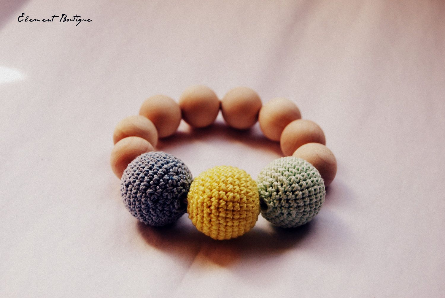 Baby Teething Toy with Crochet wooden beads.
