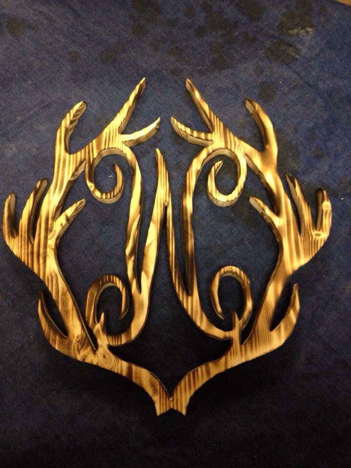 Antler Monogram Letter W Burnt Finish  Home Decor