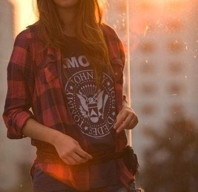 layered band tee + flannel