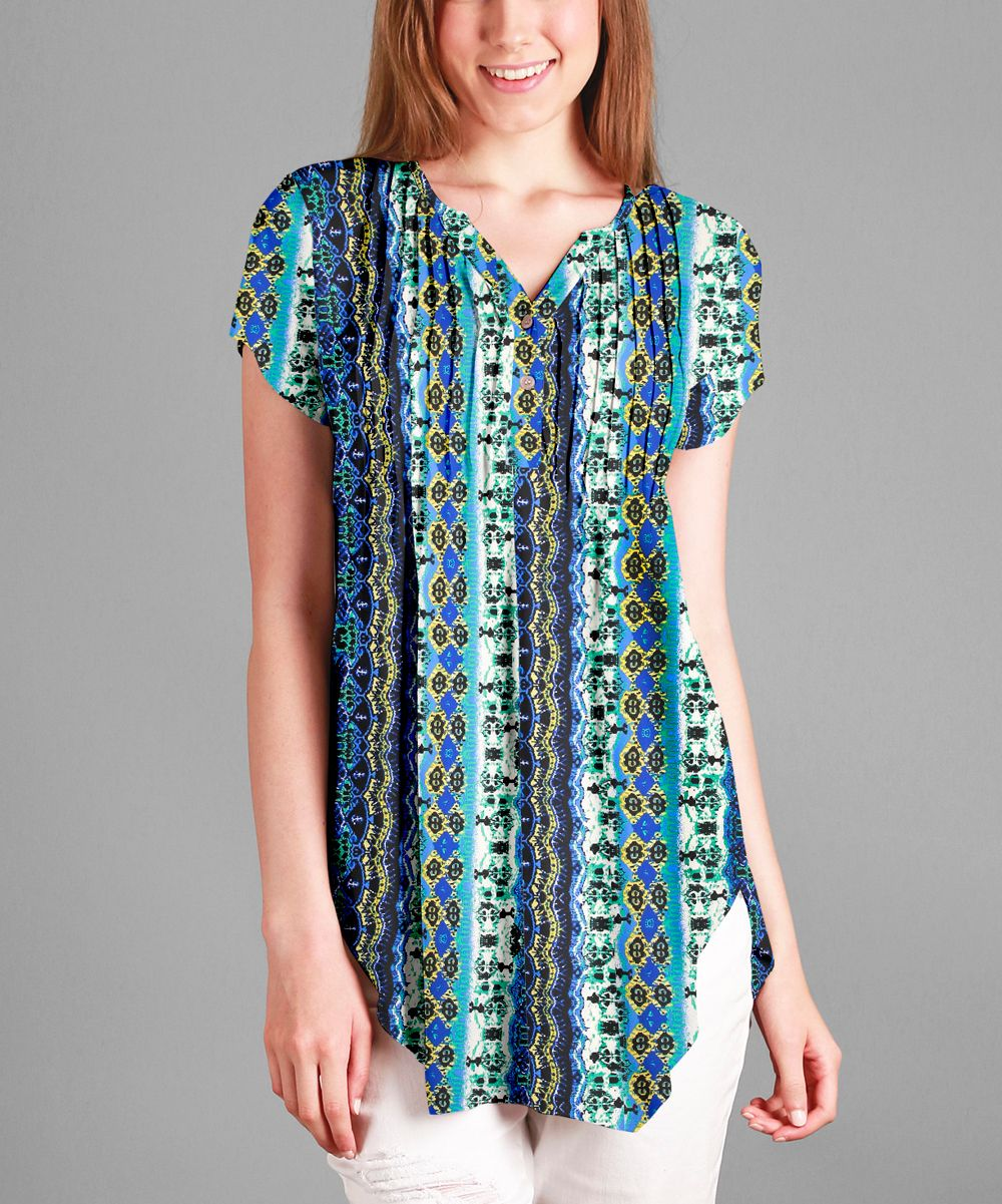 Blue & Green Geometric Pleated Button-Front Tunic - Plus - Plus Too