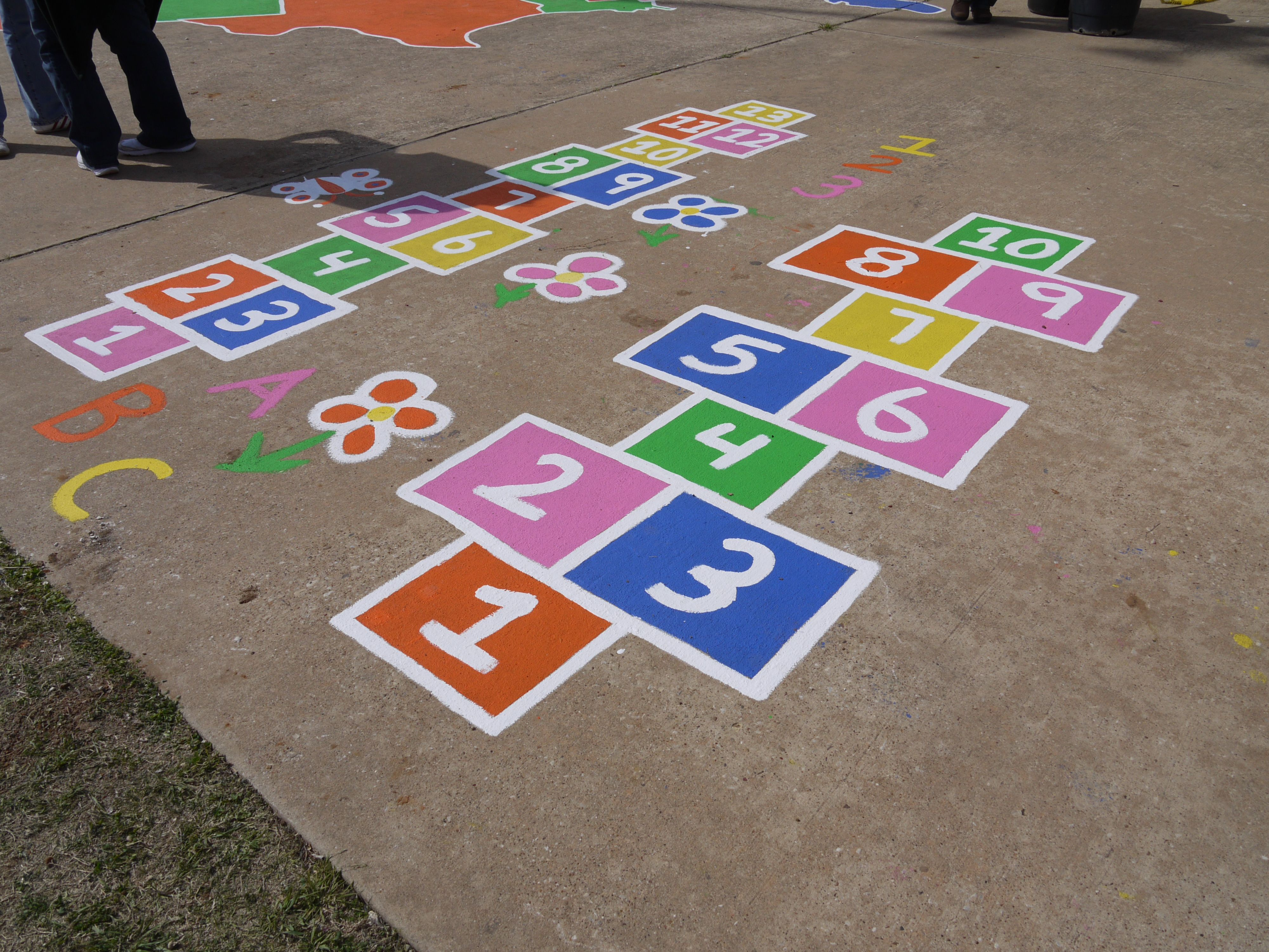 Love this hopschotch game painted on the concrete! http
