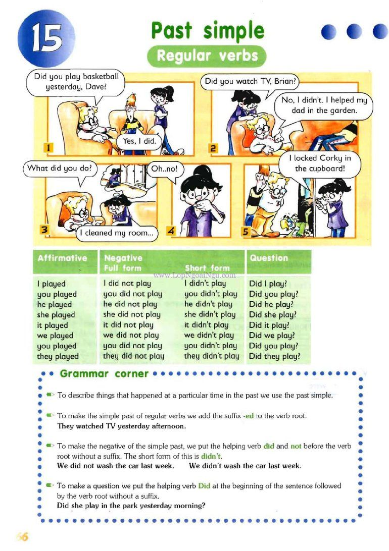 PAST SIMPLE (reguler verbs) - Pictures Grammar - English Study ...