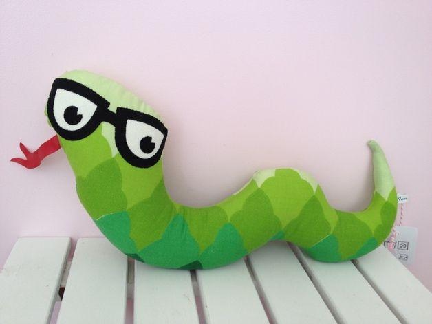 Kissen Schlange mit Brille // pillow snake with glasses by Anna ...