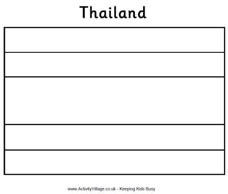 Thailand flag colouring page Curriculum Pinterest Thailand