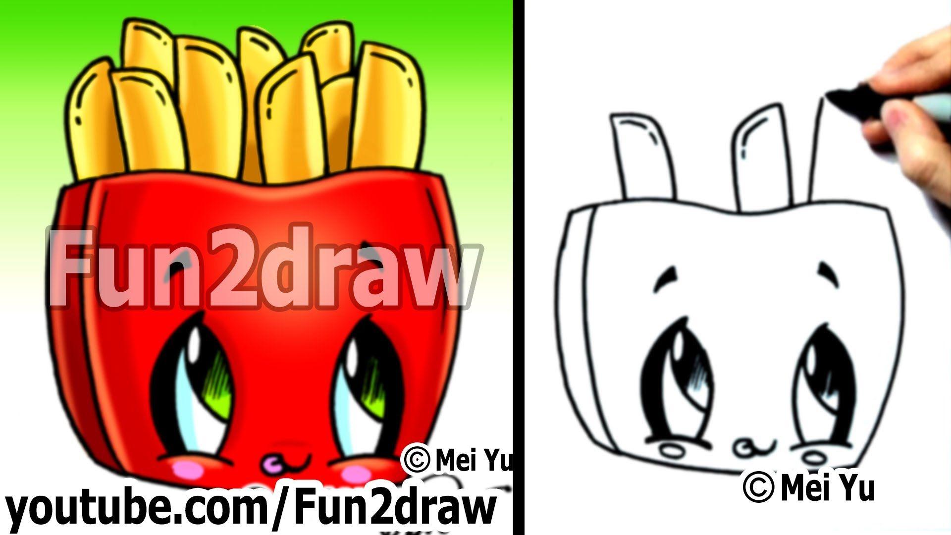 Kawaii Tutorial How To Draw Kawaii Food Fries Cute Easy Drawing Cute Art Fun2draw Fun2draw Cute Easy Drawings Easy Drawings