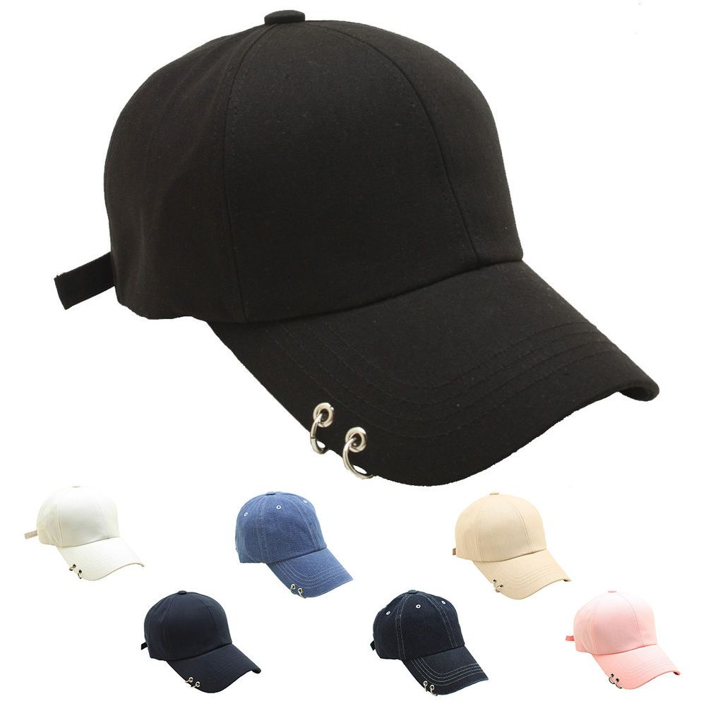 Men Women Ring Stud Baseball Cap Punk Piercing Design Curved Hat Adjustable  TCB1  4c496b2a7ea6