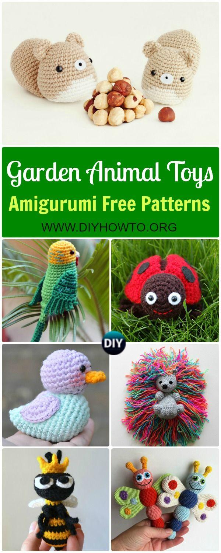 Collection of Crochet Amigurumi Garden Animal Toys Free Patterns: Amigurumi Duck, Ladybug, Parrot, Hedgehog, Squirrel, Frog and MORE via @diyhowto