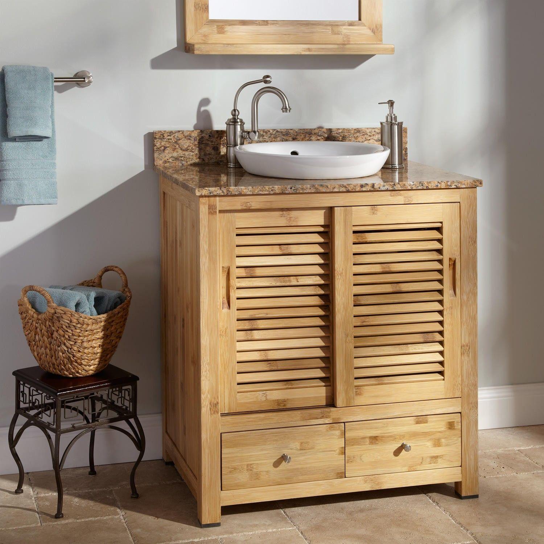 30 Arrey Bamboo Vanity For Semi Recessed Sink Bathroom Vanity Remodel Small Bathroom Storage Diy Rustic Bathroom Vanities