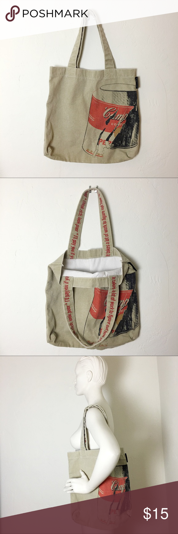 Andy Warhol Campbell S Soup Can Tote Canvas Gently Used Minor Stain Shown In Last 2 Pics Bags Totes Bags Totes Tote Bags