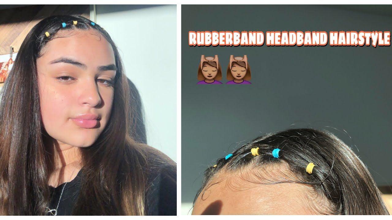 Rubberband Headband Hairstyle Headband Hairstyles Hair Styles Aesthetic Hair