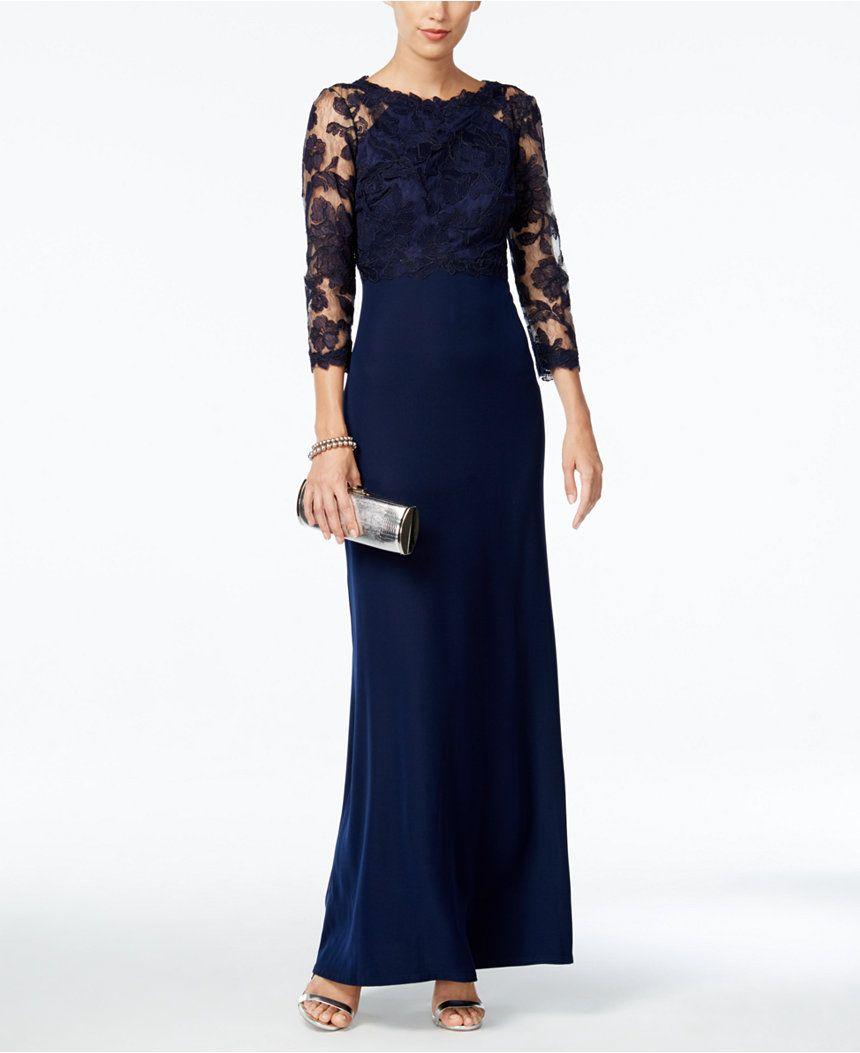 Tadashi Shoji Lace Illusion Gown - Dresses - Women - Macy's