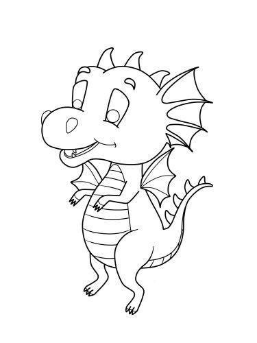 Drucken Sie für Ihr Kind den süßen kleinen Drachen zum Ausmalen aus ...