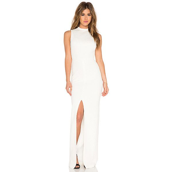 White mock neck maxi dress